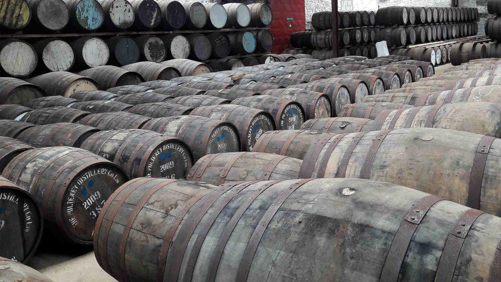 Barrels of whisky in Old Pulteney Distillery