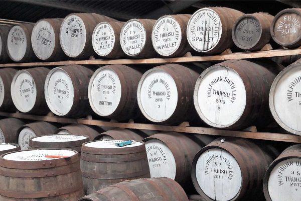 Whisky barrels in Wolfburn Distillery