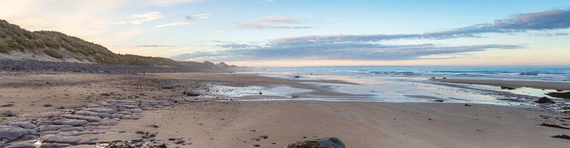 Sinclair Bay beach at Reiss near Wick in Scotland